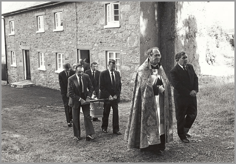 Keith Redstone, leading a service at Gidleigh, with Rev Louie Baycock 1990